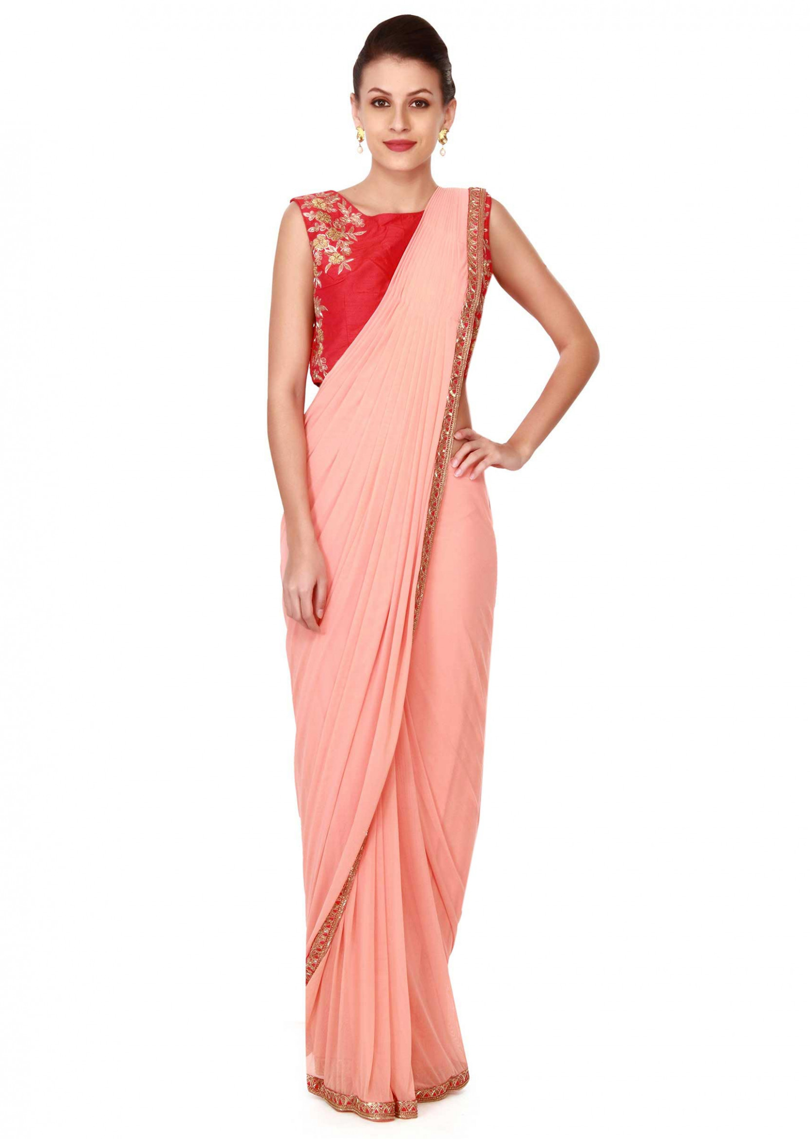 Peach pre stitched saree with embroidered blouse