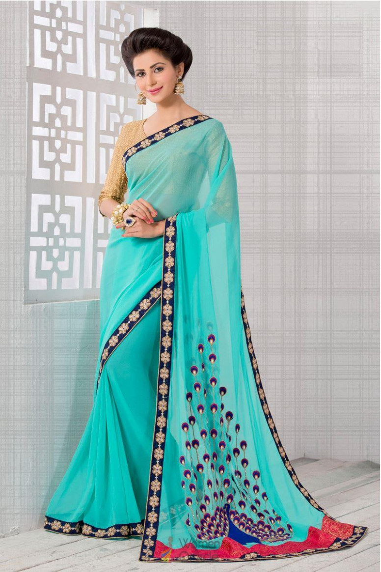 Peacock Embroidery With Lace Border Georgette Aqua Color