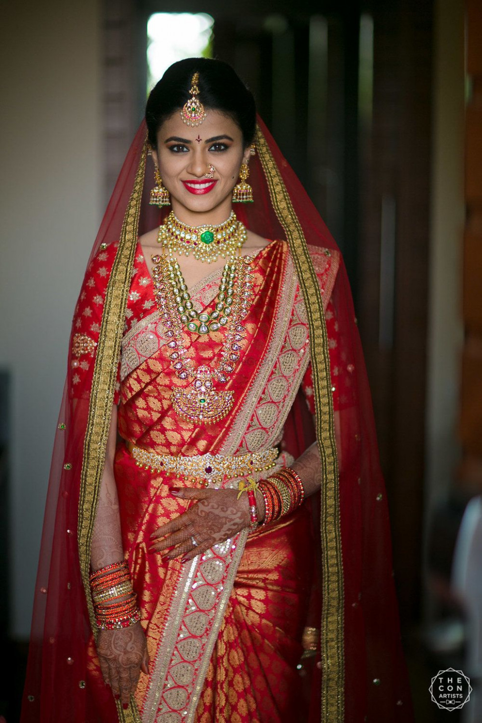 Photo of South Indian bridal look in red saree with dupatta