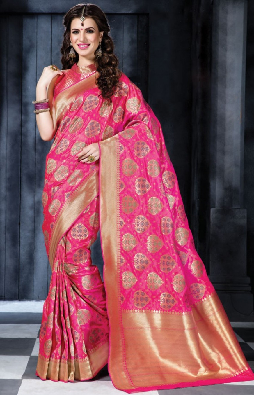 Pick Online  Fuchsia Banarasi Silk Saree With Blouse  548576