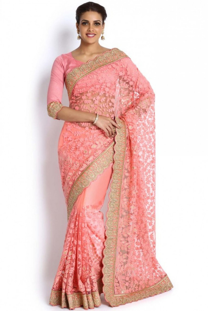 Pick Online  Soch Light Pink Embroidered Net Saree  534696