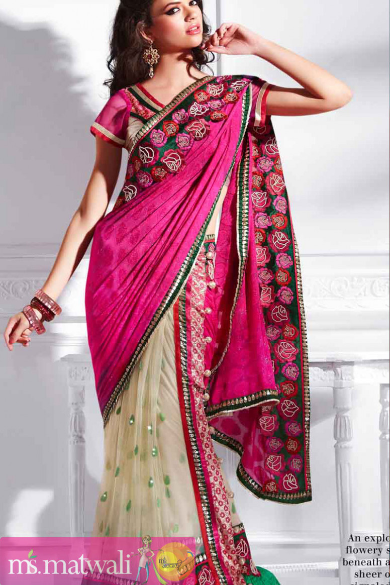 Pink And Cream Flowery Stickers One Minute Saree  Buy