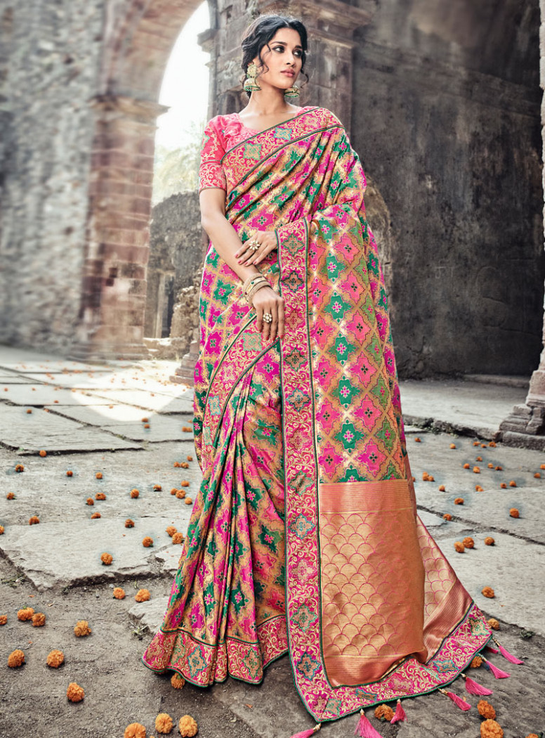 Pink Banarasi Silk Wedding Saree 121800