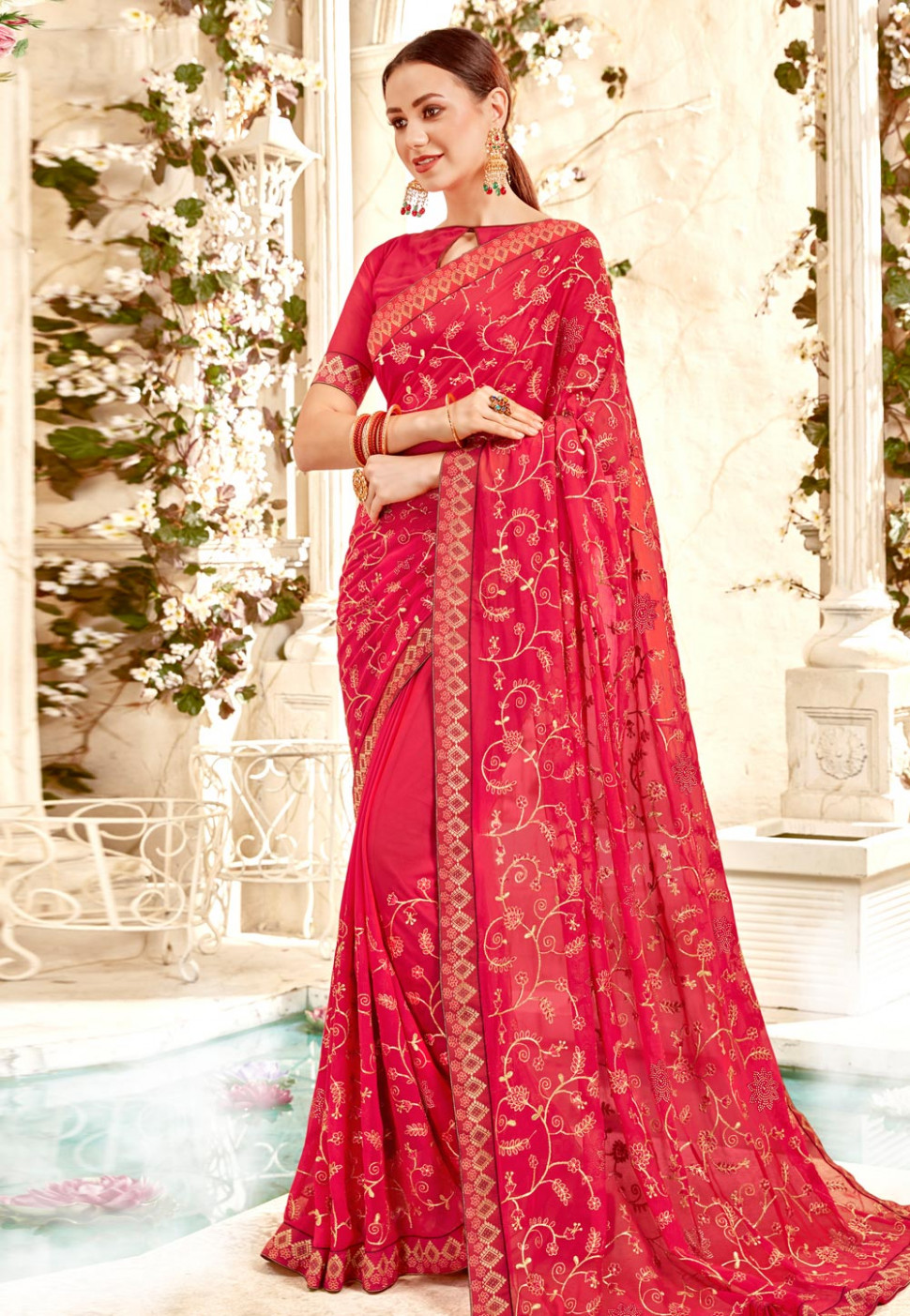 Pink Georgette Embroidered Saree With Blouse 172337