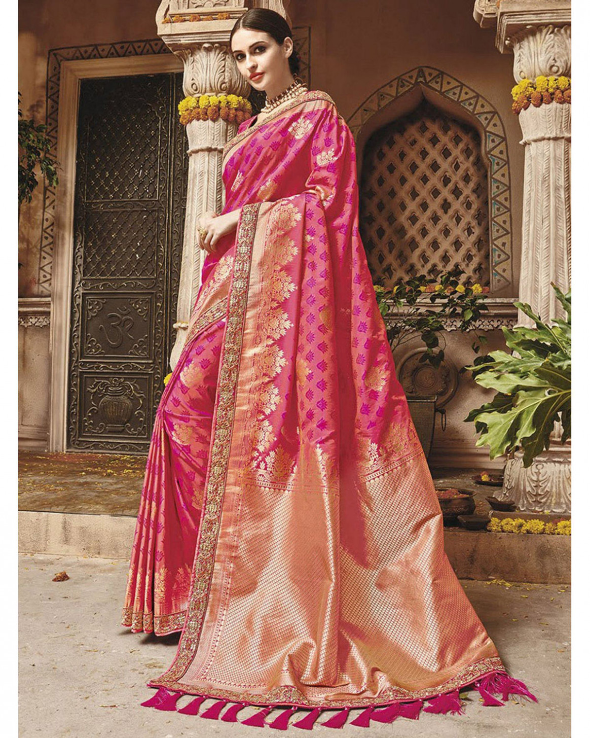 Pink Kanjeevaram Silk Saree With Embroidery  Deestath06