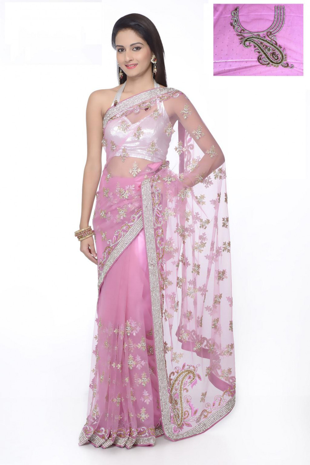 Pink Net Embroidery with Stone Work Wedding Saree 25409