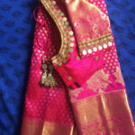 Pink pattu saree with kasu work blouse in 2019  Saree