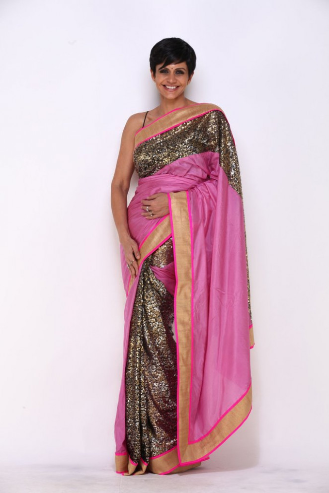Pink saree with Sequins In Pleats and Pallu – Mandira Bedi