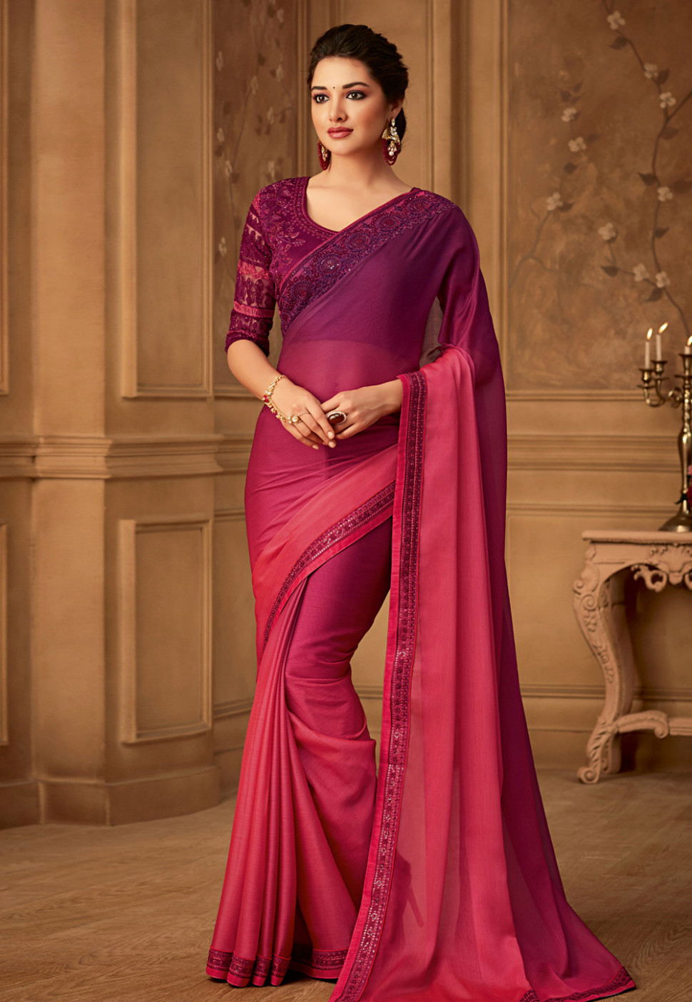 Pink silk embroidered saree with blouse 516