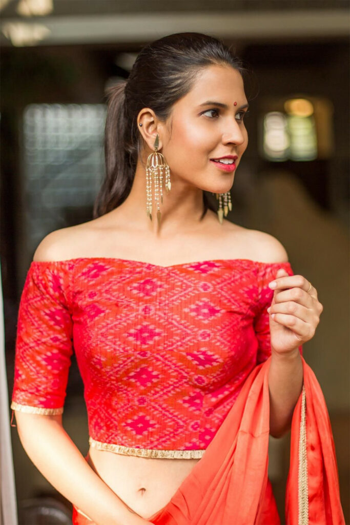 Pinkish red ikat raw silk off shoulder blouse #blouse #
