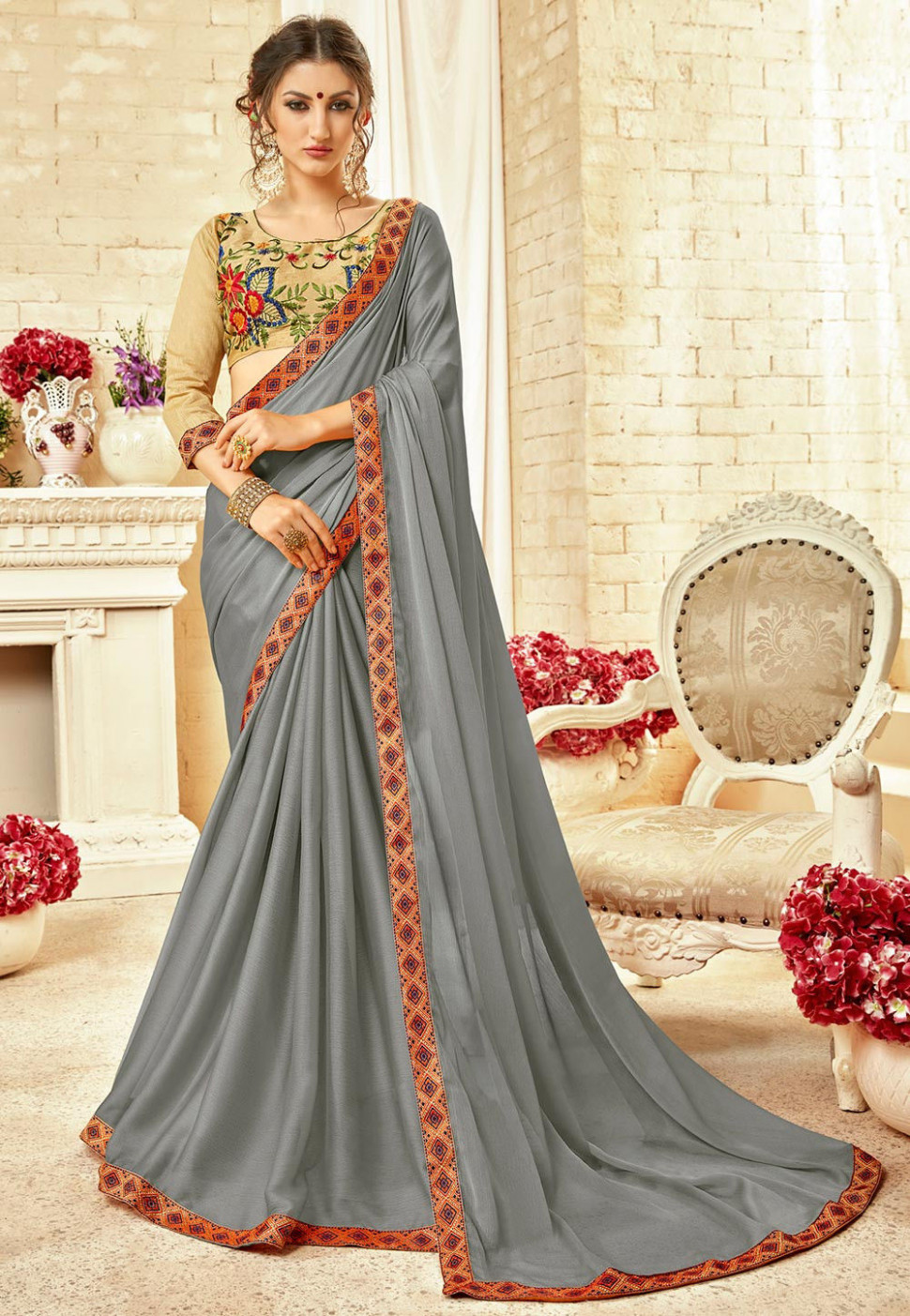 Plain Chiffon Saree in Grey : SPFA3933