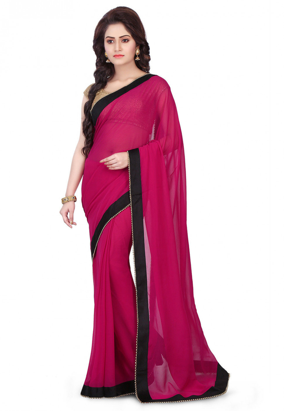 Plain Chiffon Saree in Magenta : SVX778