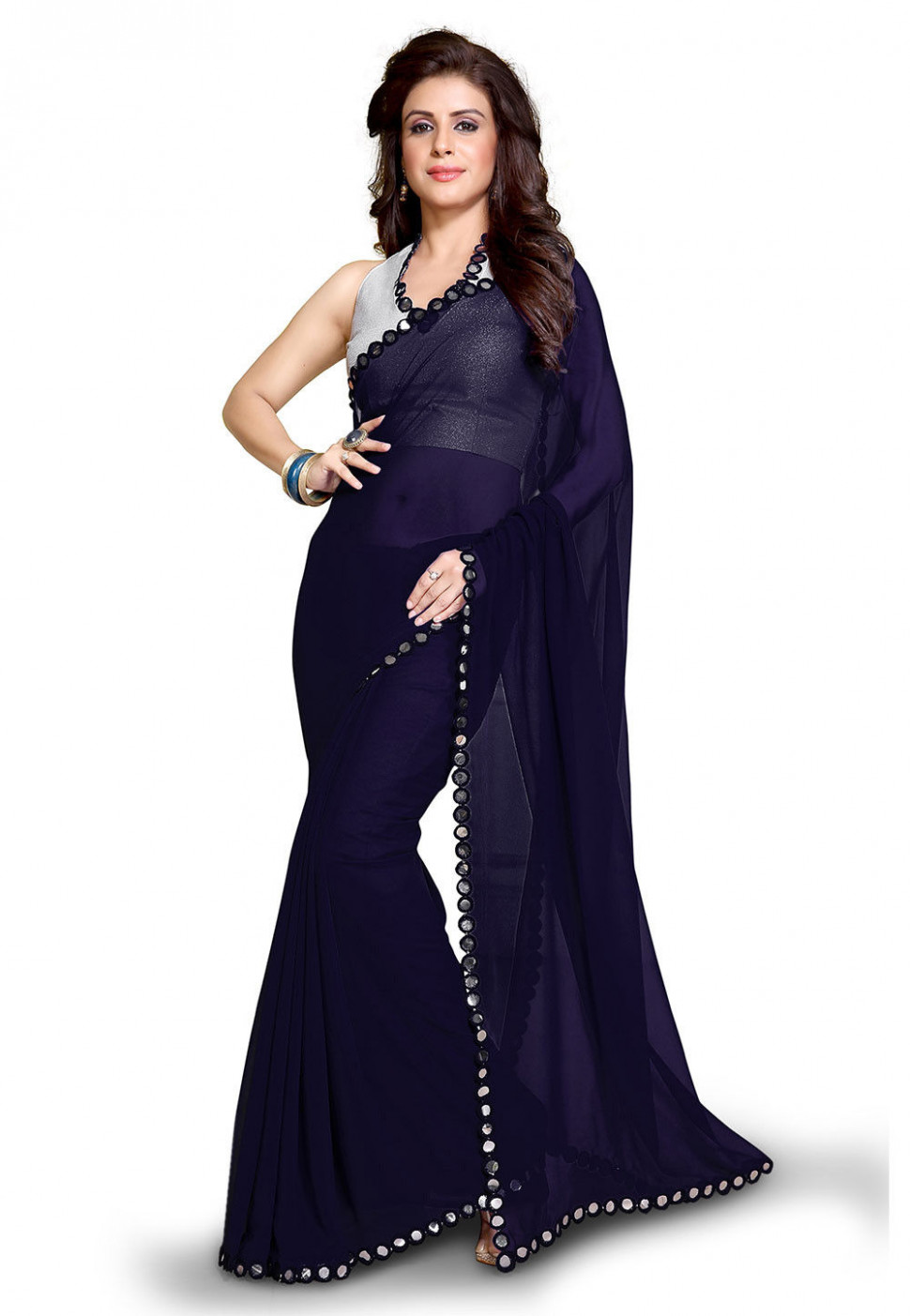 Plain Georgette Saree in Navy Blue : SBH1415