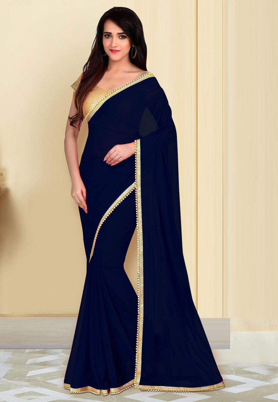 Plain Georgette Saree in Navy Blue : SBZ3434