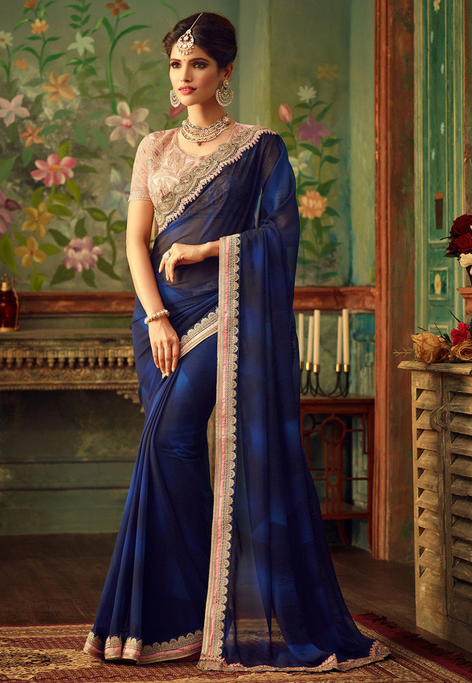 Plain Georgette Saree in Navy Blue : SFVA46