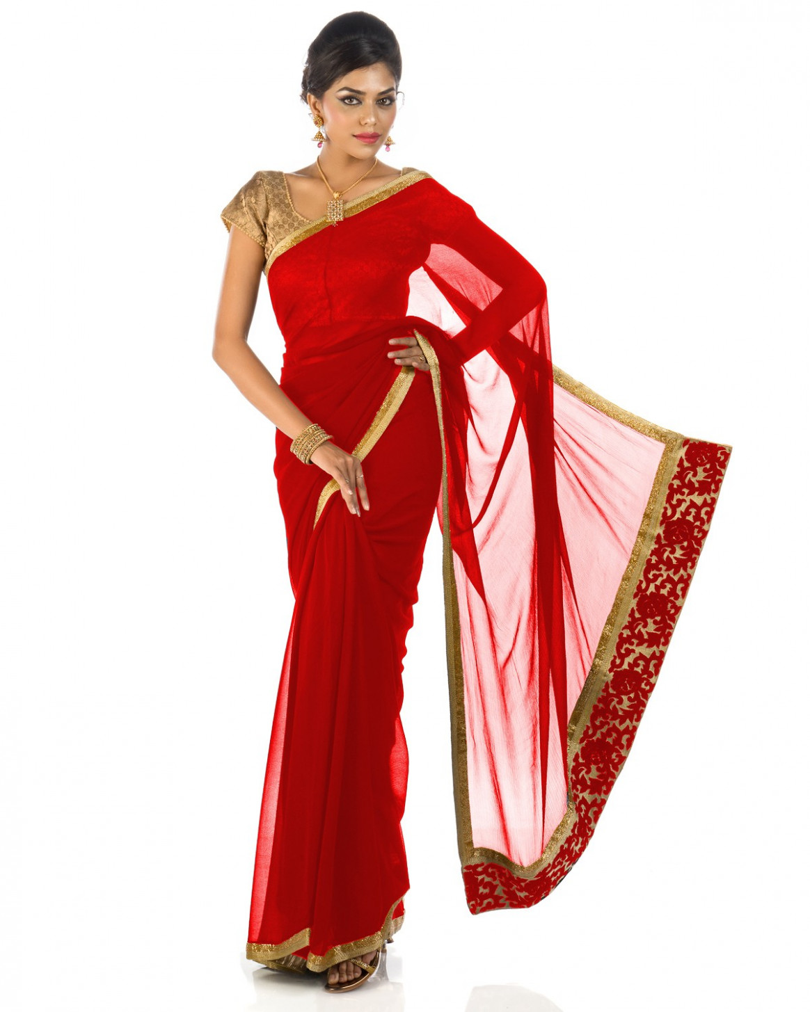 PLAIN RED COLORED PURE CHIFFON SAREE WITH GOLDEN BORDER