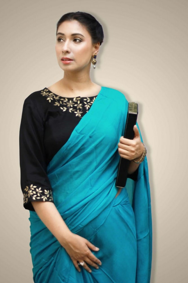 Plain saree designer blouse buy online - turquoise blue saree