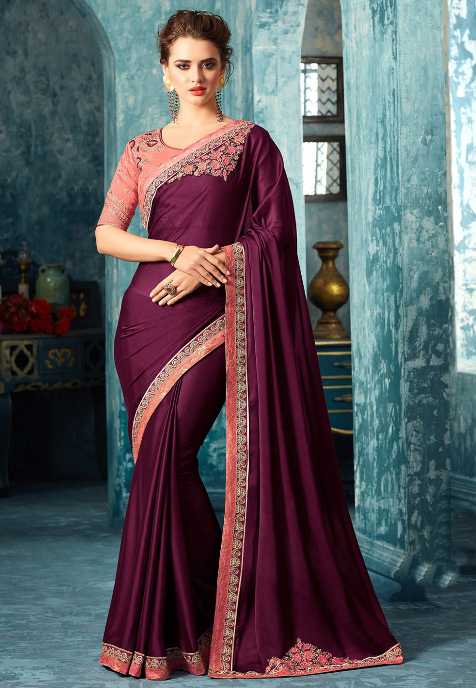 Plain Satin Georgette Saree in Violet : SYC7558