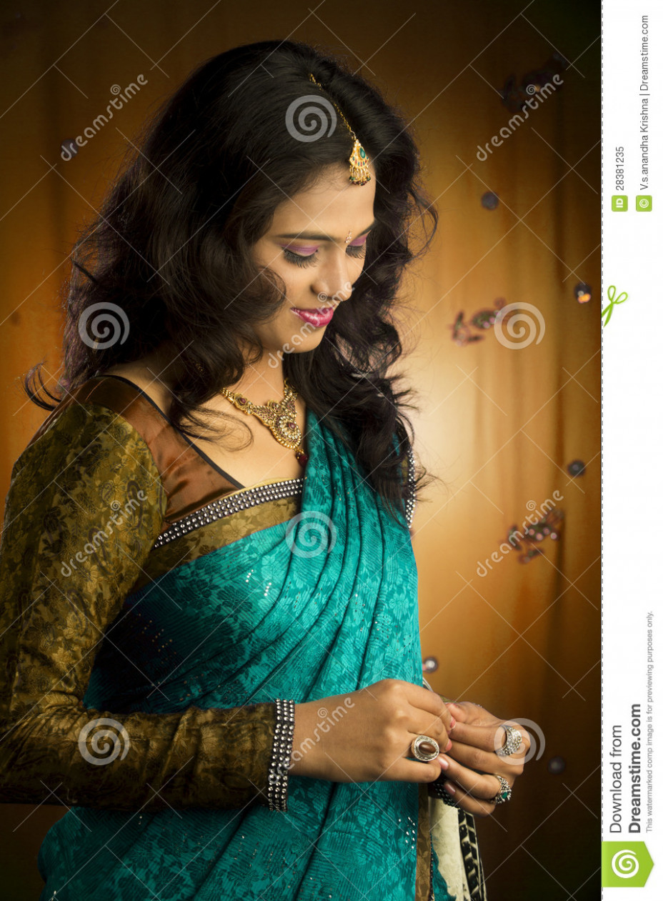 Portrait Of Indian Beautiful Girl In Saree Stock Image