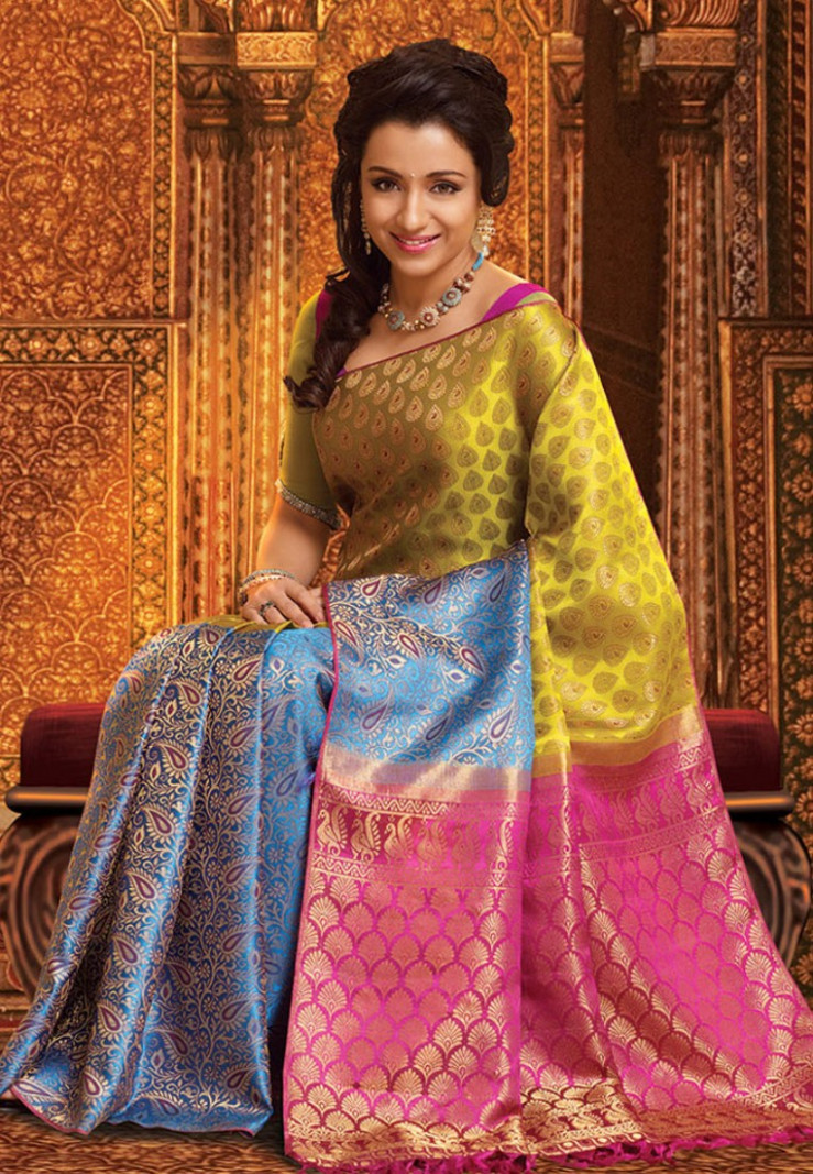 Pothys Multicolor Samuthirika Silk Saree - Footwear