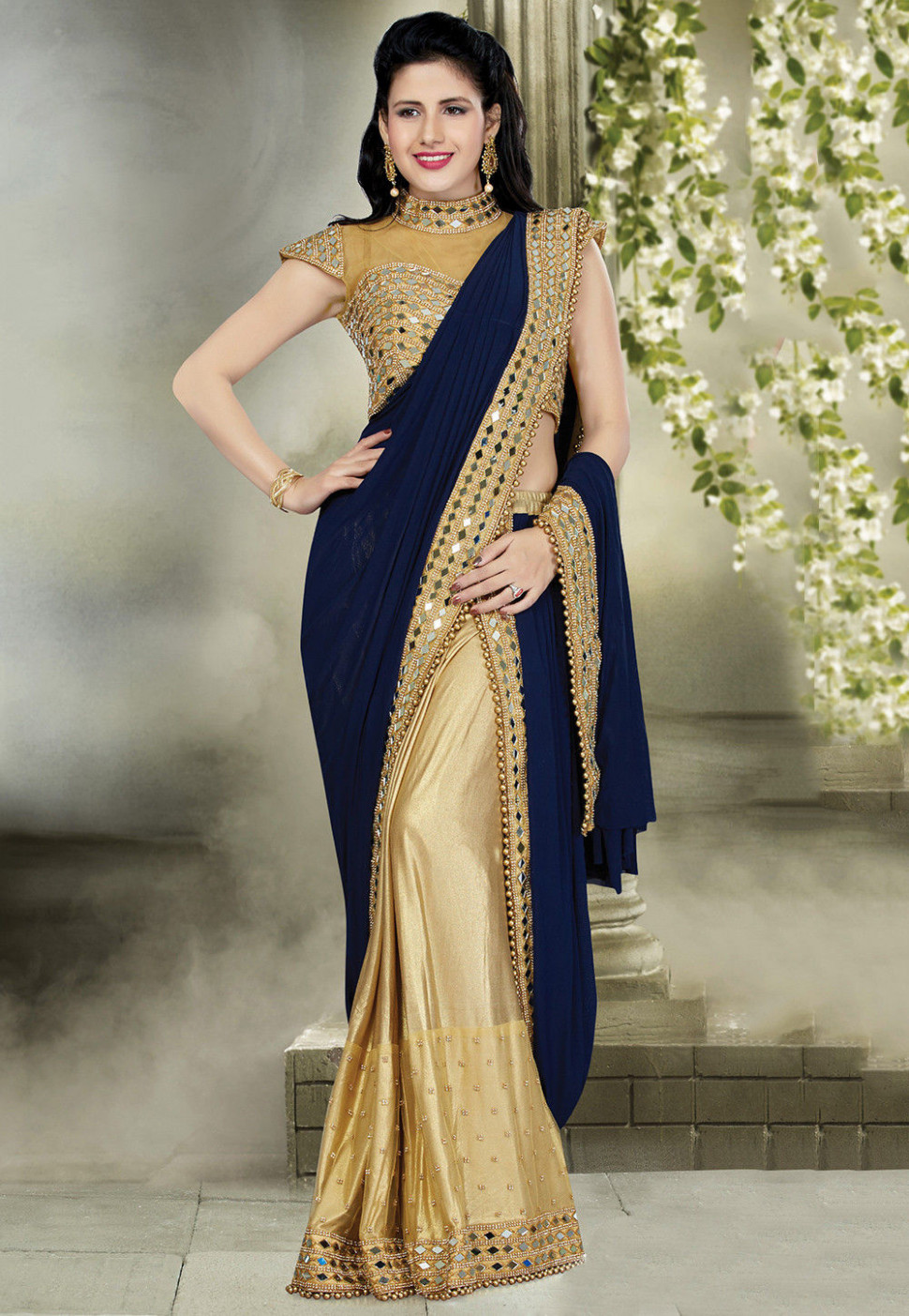 Pre-Stitched Georgette Saree in Navy Blue and Golden : SNZA1