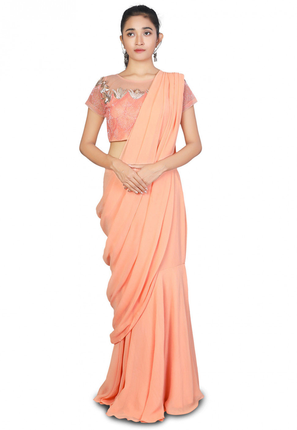 Pre-stitched Georgette Saree in Peach : SYYA3