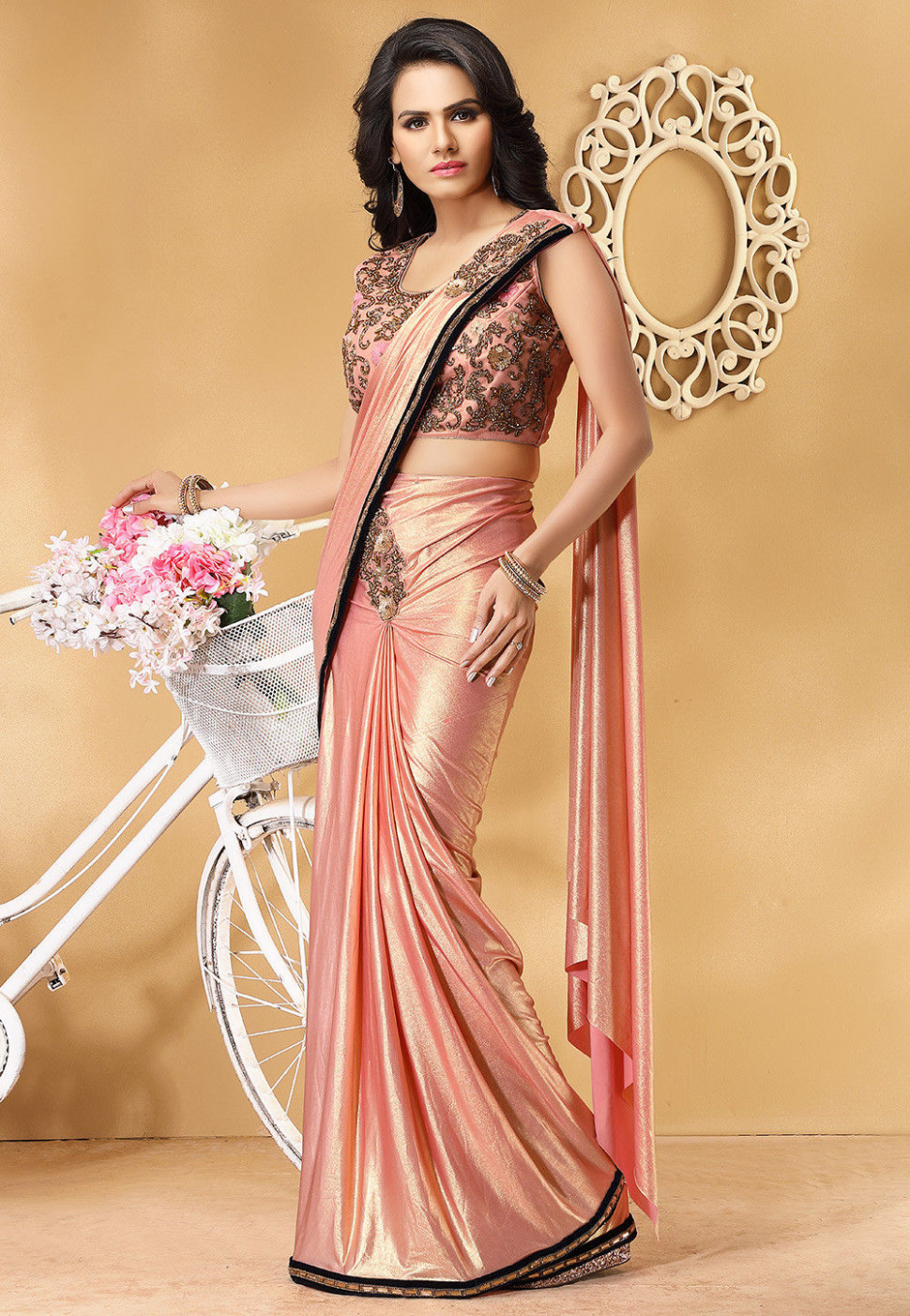 Pre-Stitched Hand Embroidered Lycra Saree in Peach : SNZA5