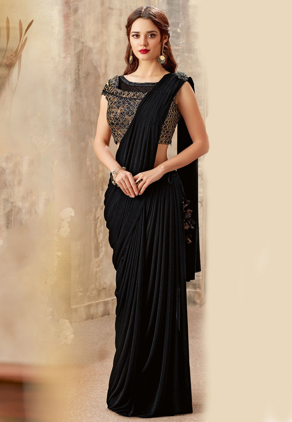 Pre-stitched Lycra Cowl Style Saree in Black : SWS5837