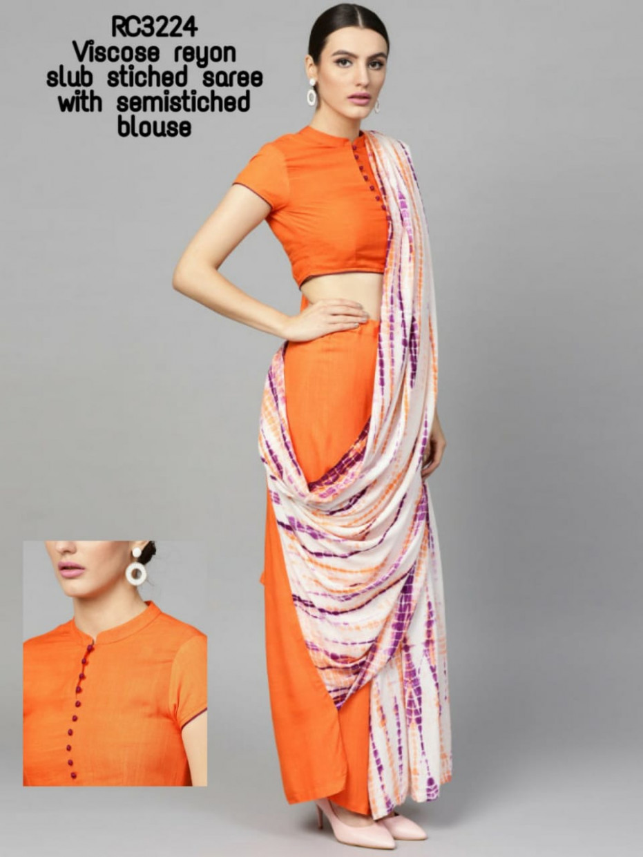 Pre Stitched Saree, Saree with blouse stitched and