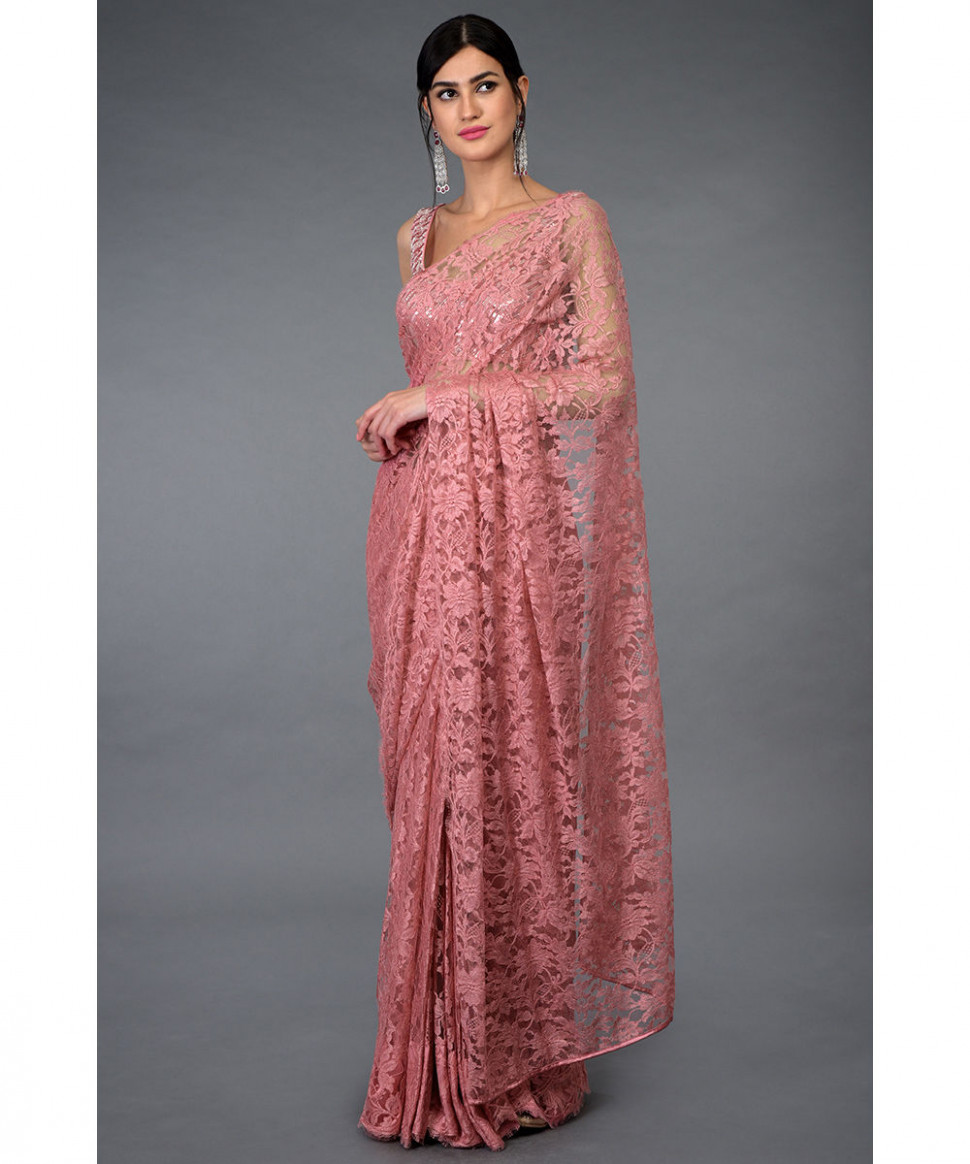 Pressed Rose French Chantilly Lace Saree With Blouse