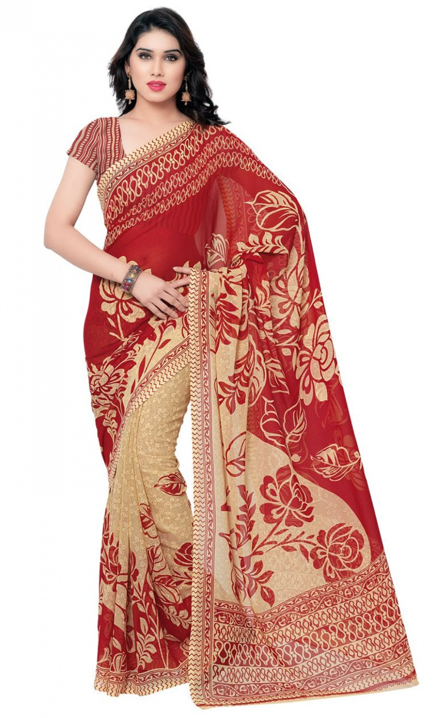 (Price up) Amazon - Buy Anand Sarees Saree (Ivory/Red) for