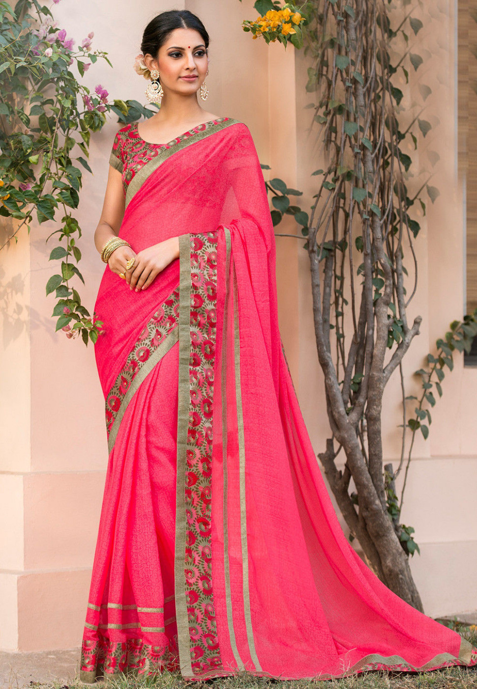 Printed Chiffon Saree in Pink : SSF4732