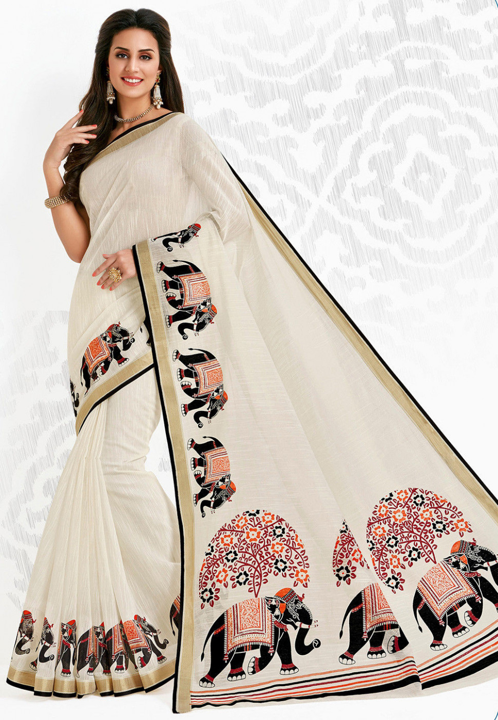 Printed Cotton Saree in Off White : SSF3135