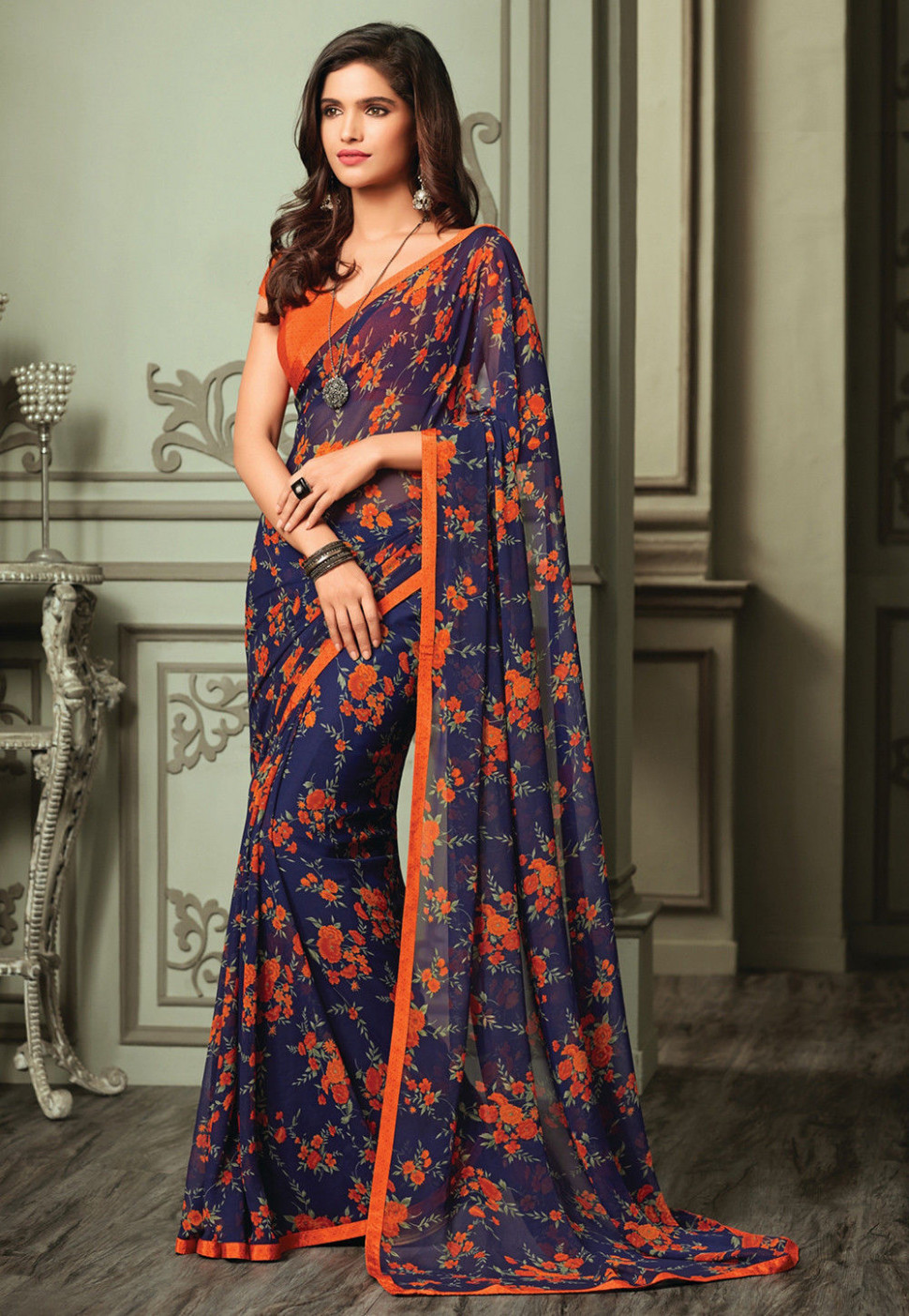 Printed Georgette Saree in Navy Blue : SSF3604