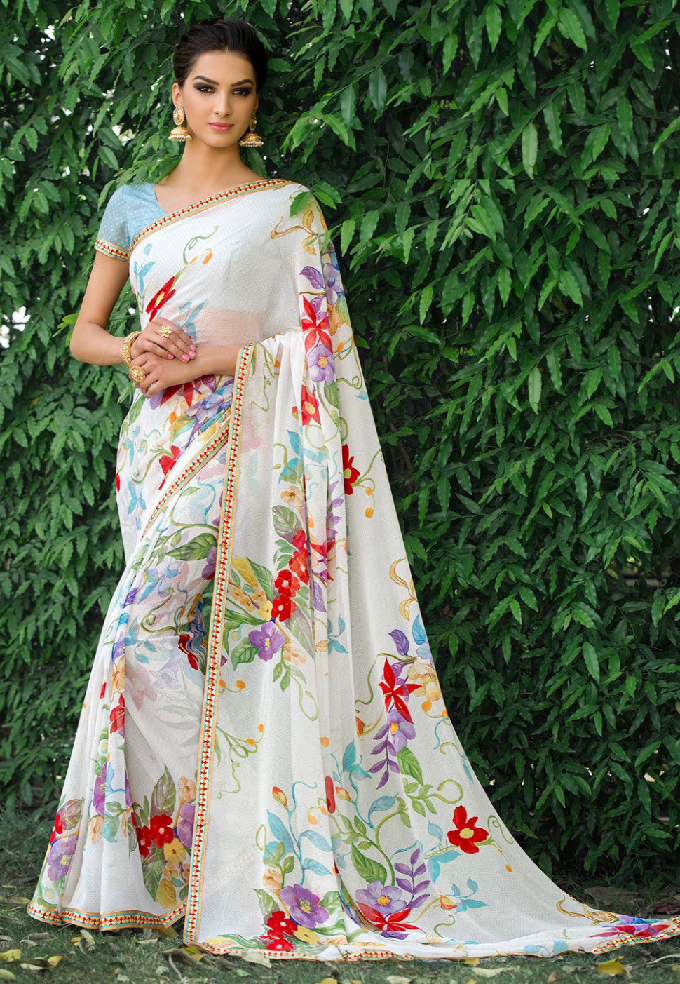 Printed Georgette Saree in Off White : SSF3172