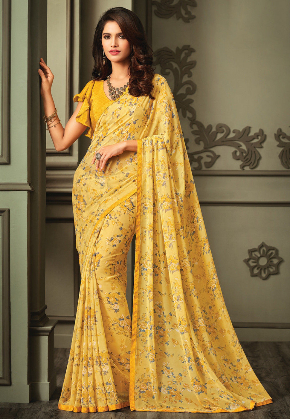 Printed Georgette Saree in Yellow : SSF3607