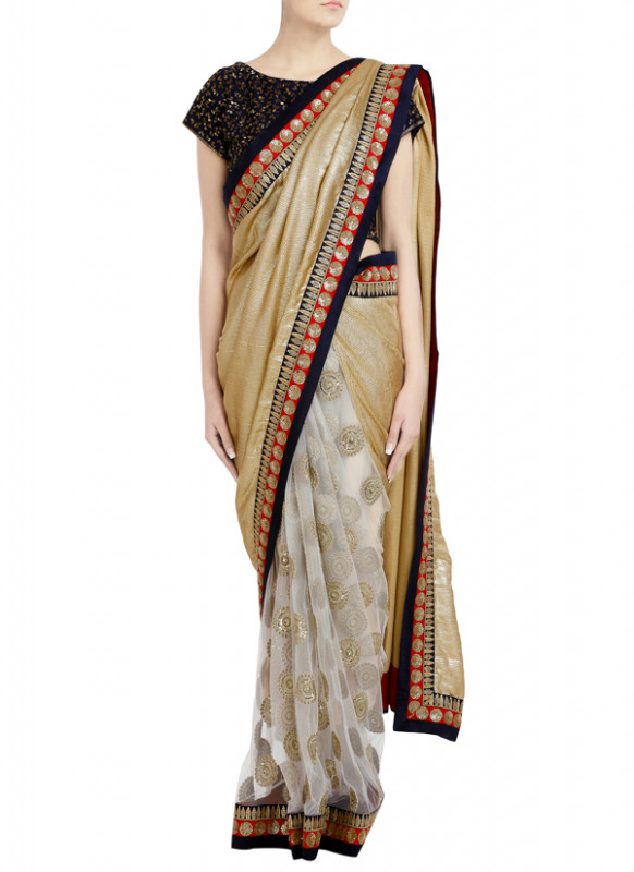 Priti Sahni  Half Golden Sequin Net Saree  Shop Sarees