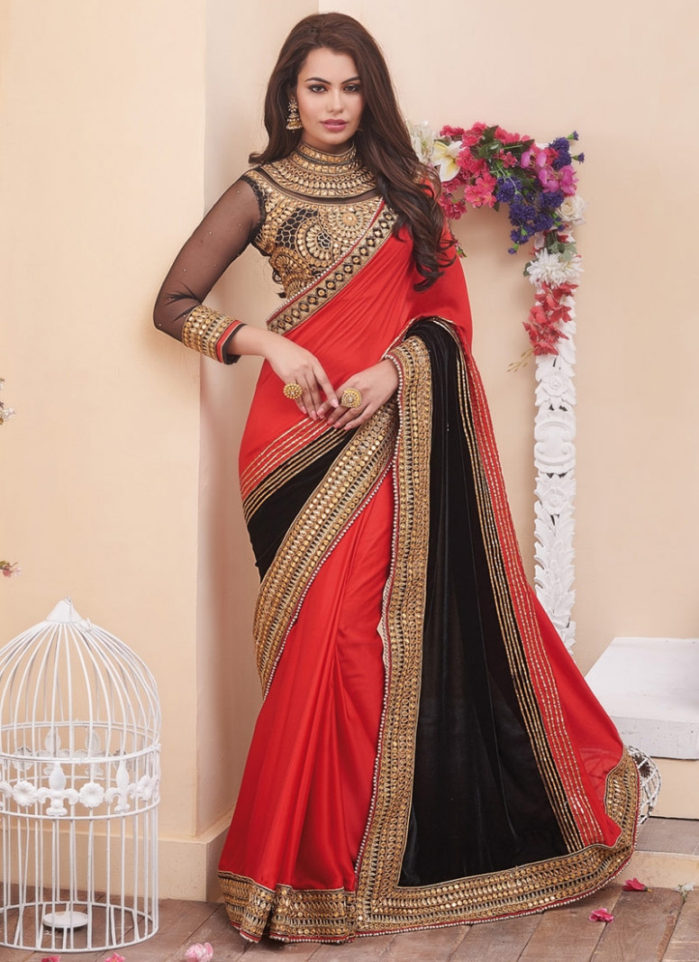 Prodigious Mirror Work Designer Saree