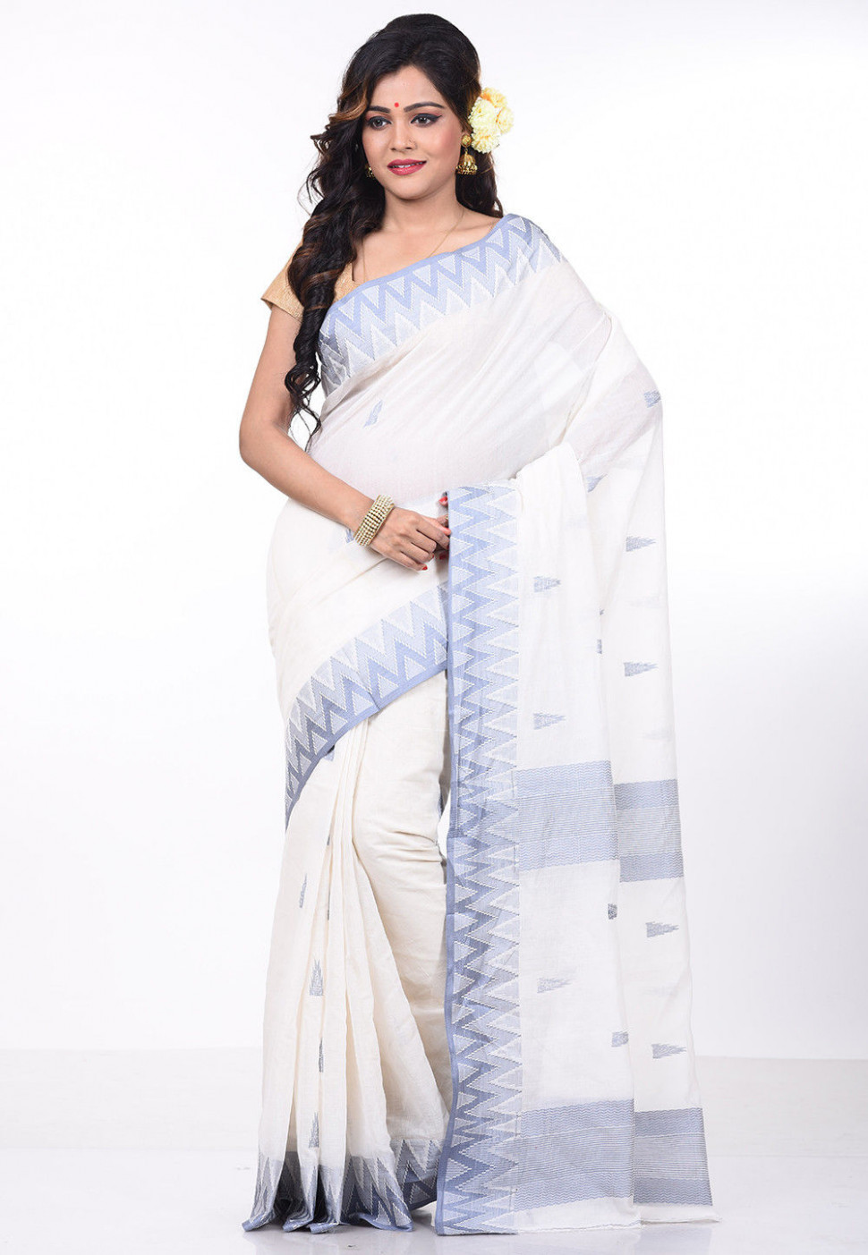 Pure Cotton Handloom Saree in White : SKUA156