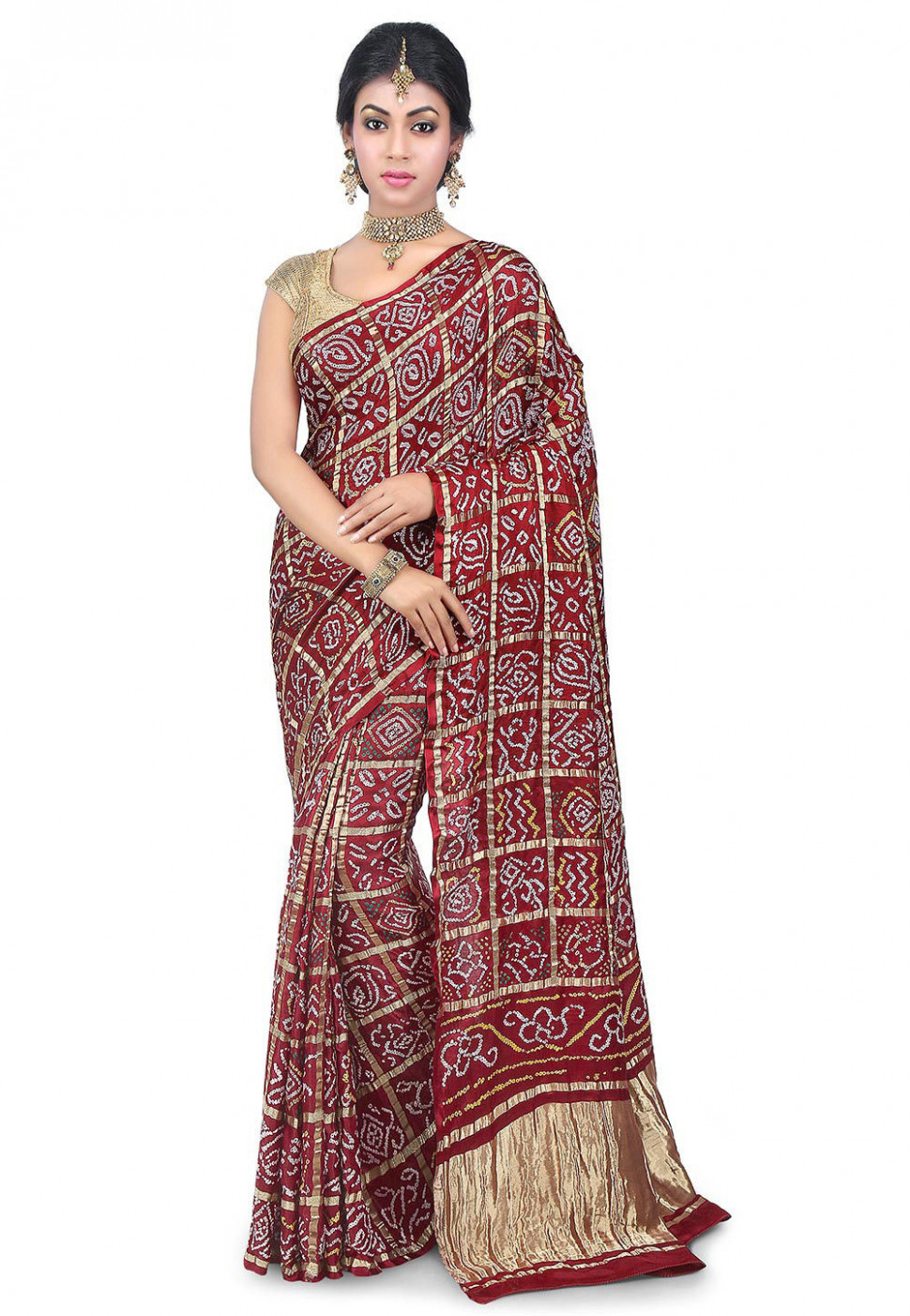Pure Ghatchola Satin Silk Saree in Maroon : SJN6890