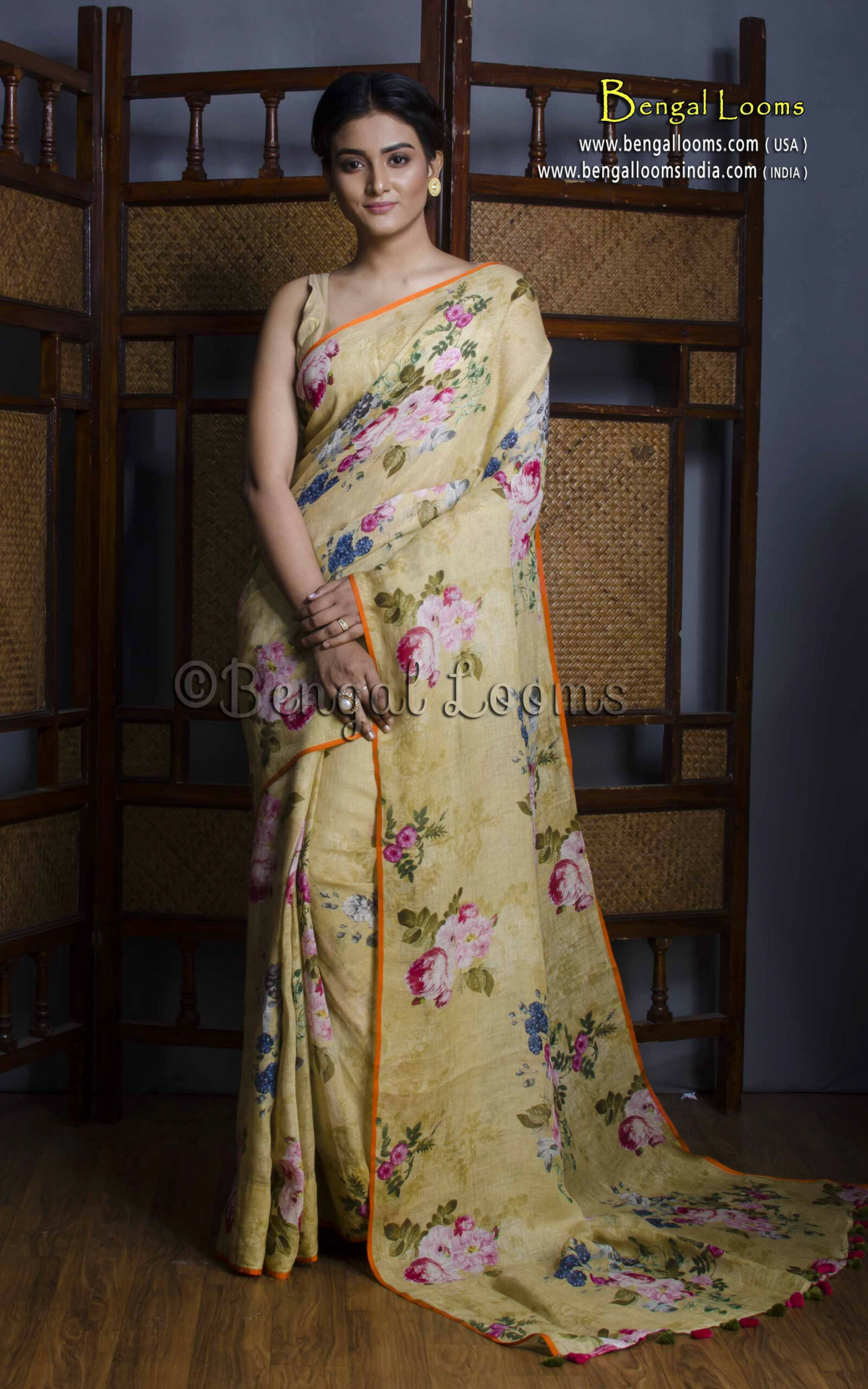 Pure Handloom Digital Printed Floral Linen Saree in Light