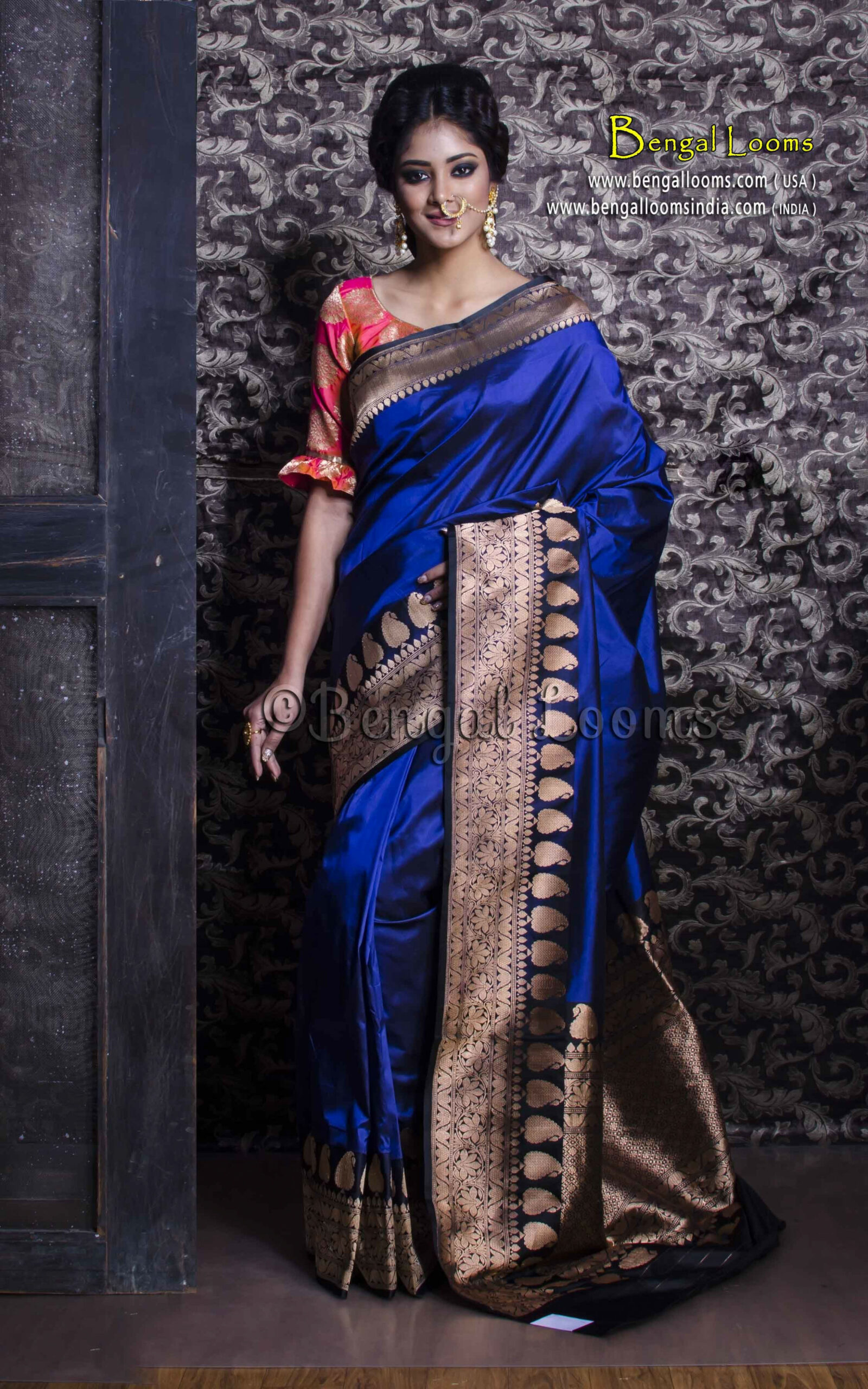 Pure Handloom Katan Silk Banarasi Saree in Royal Blue and