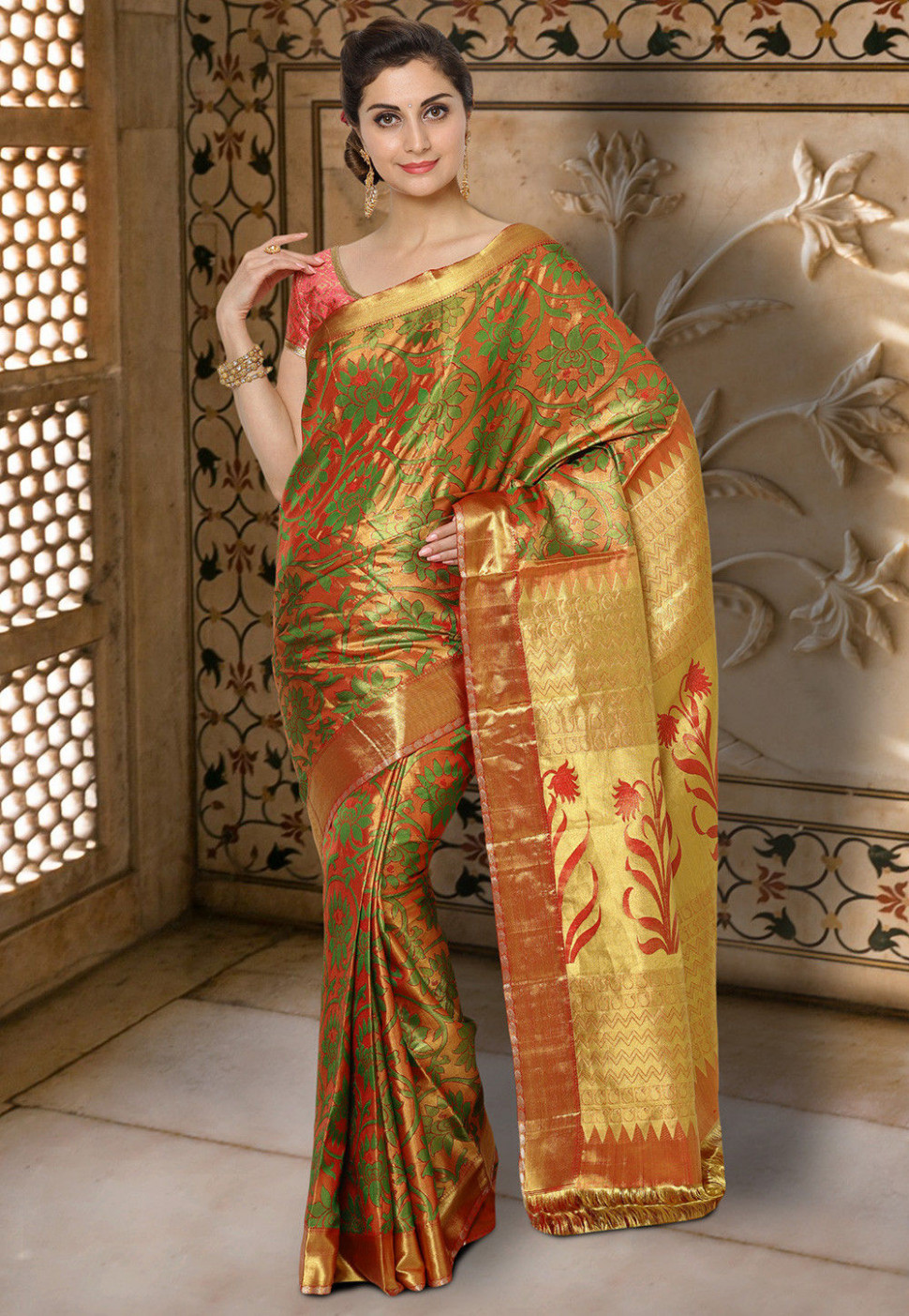 Pure Kanchipuram Silk Handloom Saree in Rust and Green