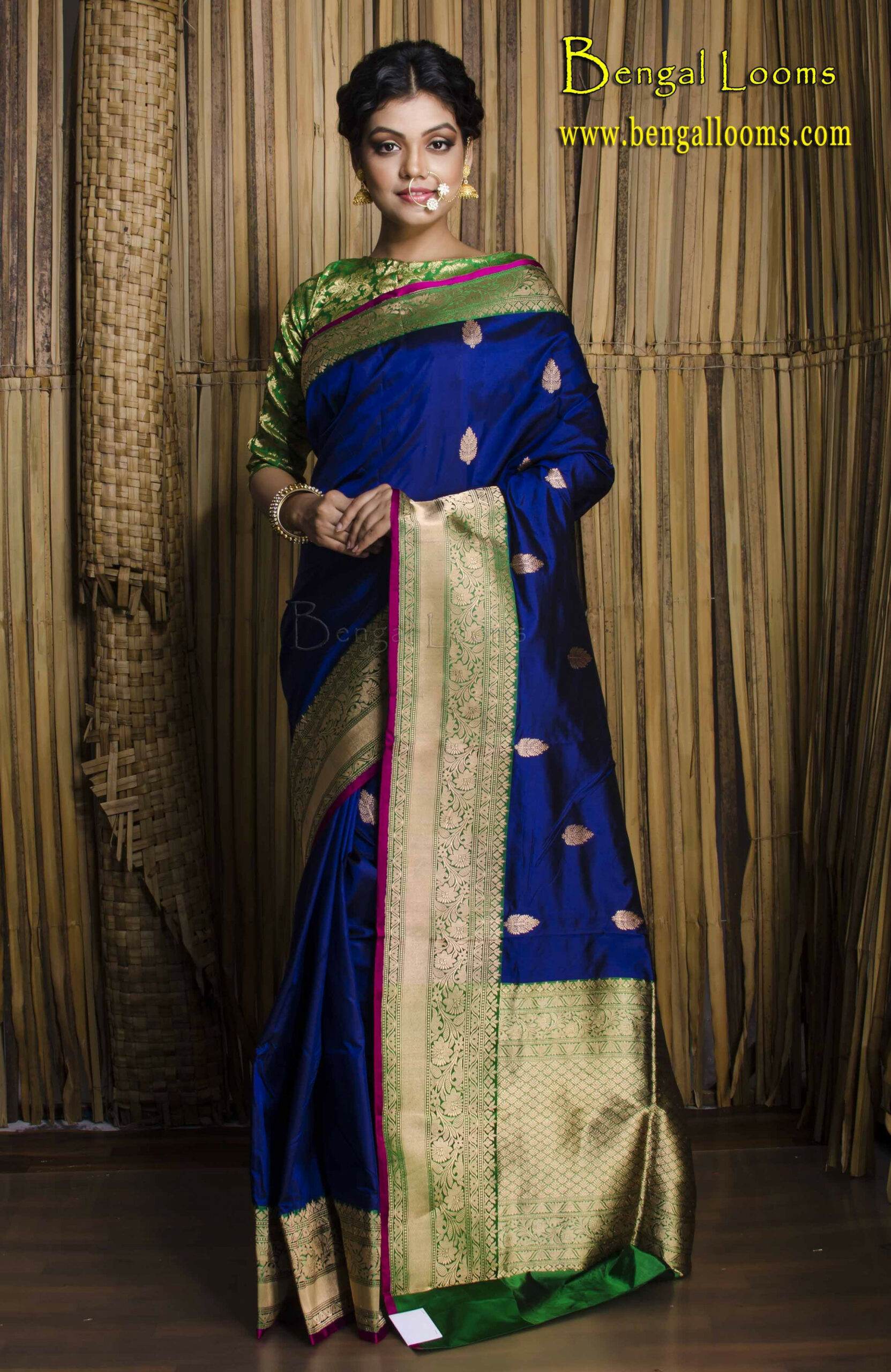 Pure Katan Banarasi Silk Saree in Dark Blue, Green and