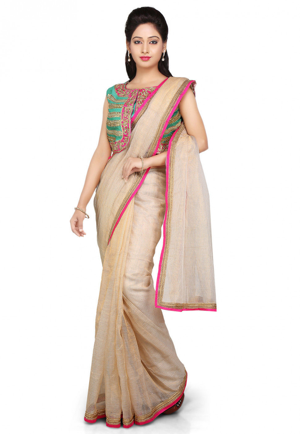 Pure Kota Tissue Saree in Beige : SJN6470