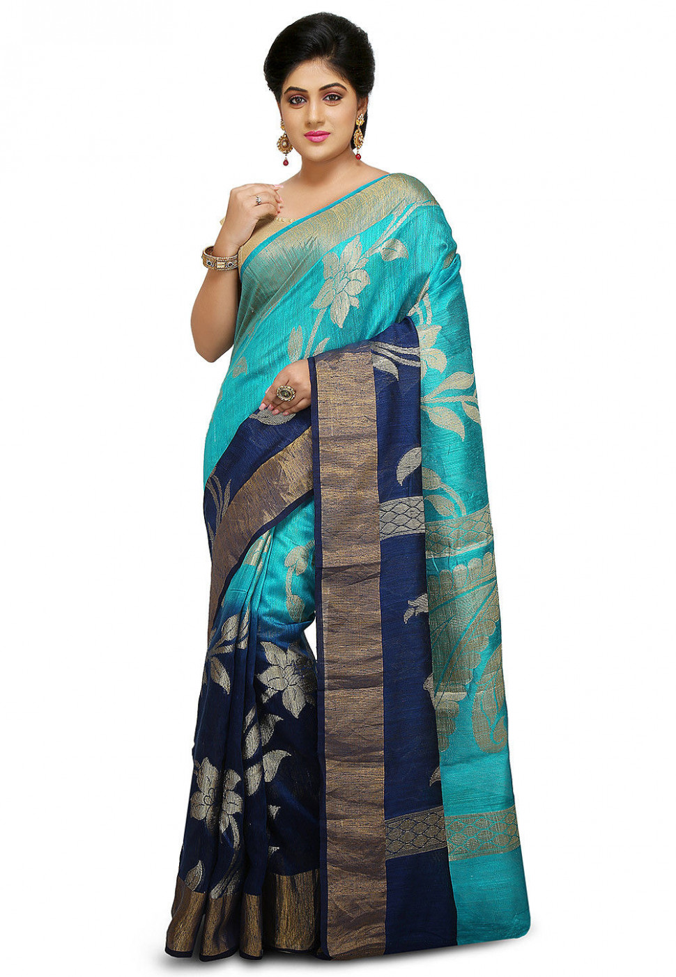 Pure Matka Silk Saree in Sky Blue and Navy Blue : SNEA1148