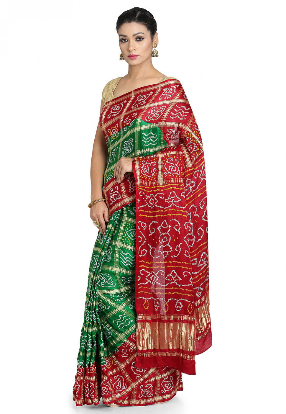 Pure Satin Silk Gharchola Saree in Green and Maroon : SJN7211