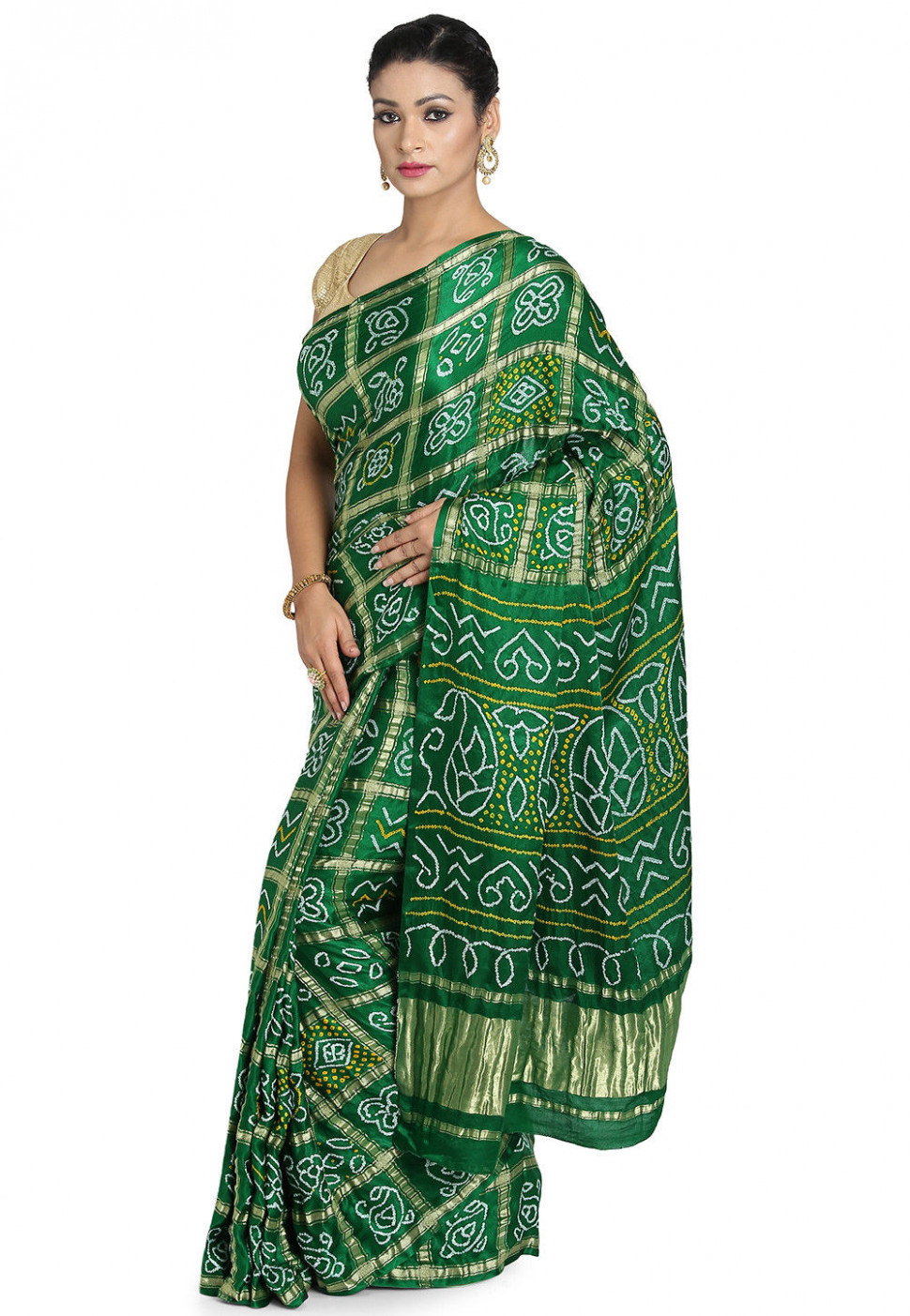 Pure Satin Silk Gharchola Saree in Green : SJN7210