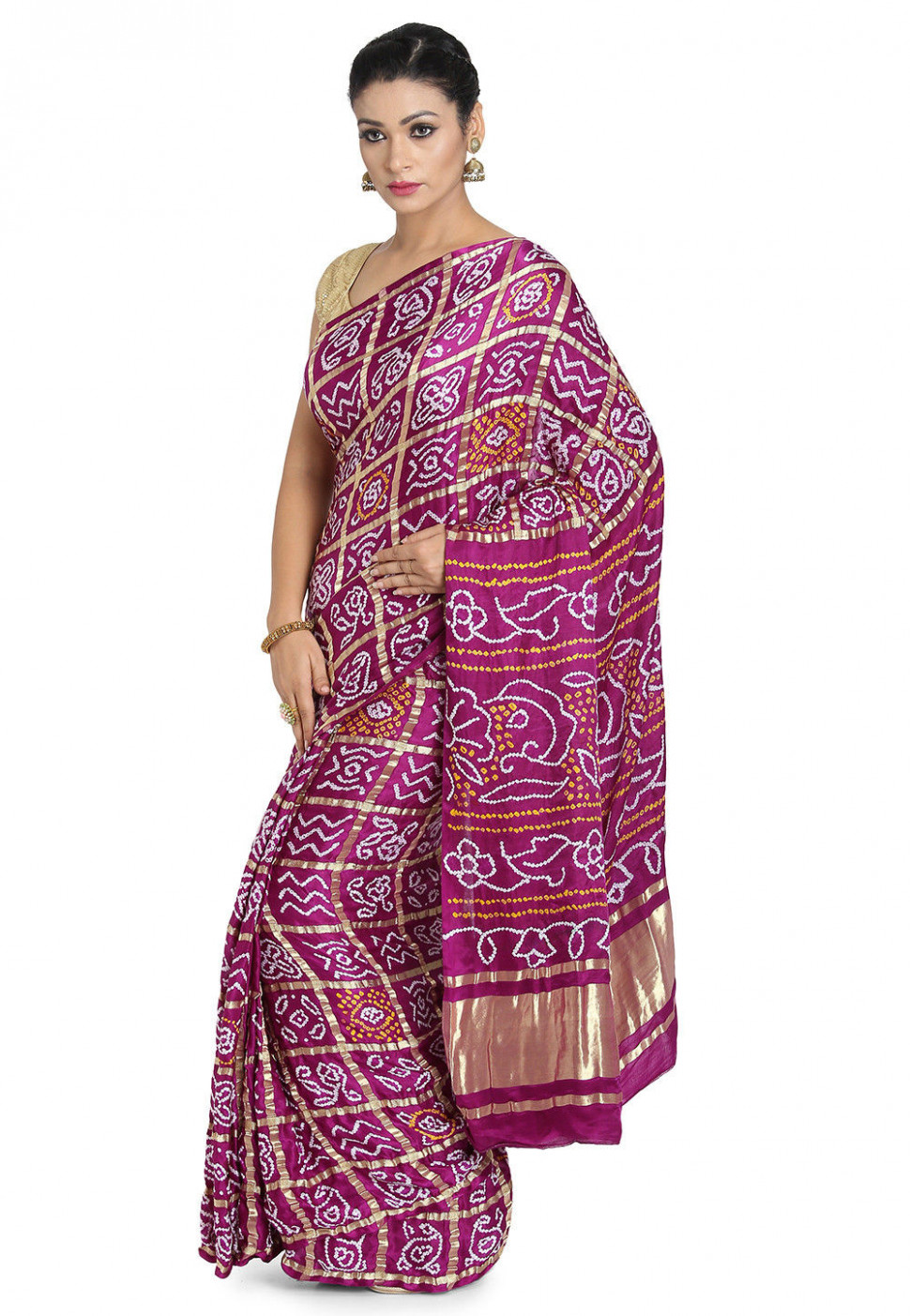 Pure Satin Silk Gharchola Saree in Magenta : SJN7215