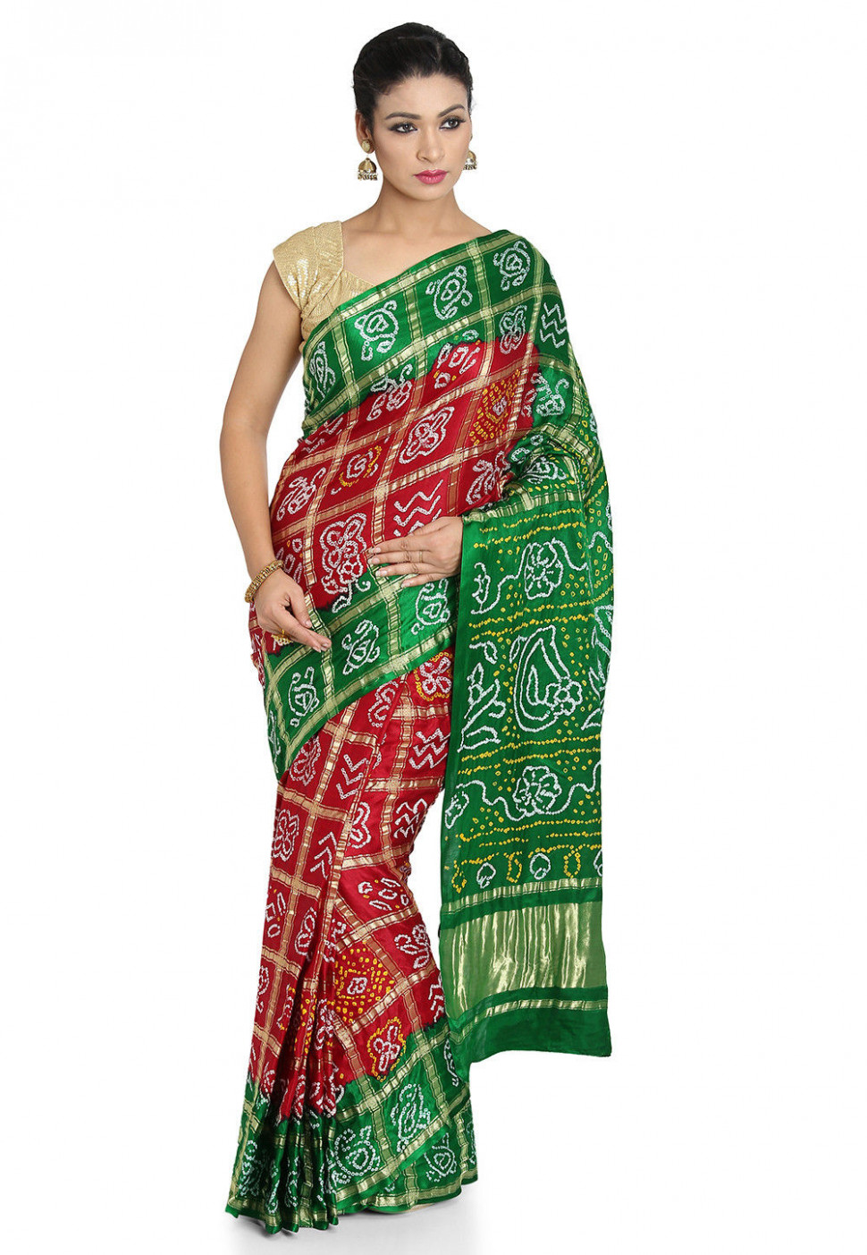 Pure Satin Silk Gharchola Saree in Maroon and Green : SJN7209